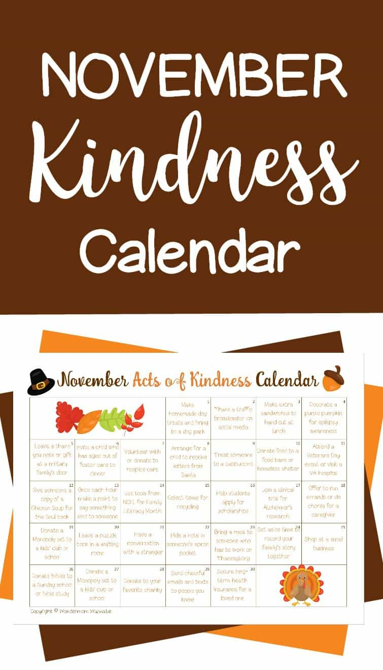 November Acts of Kindness Calendar