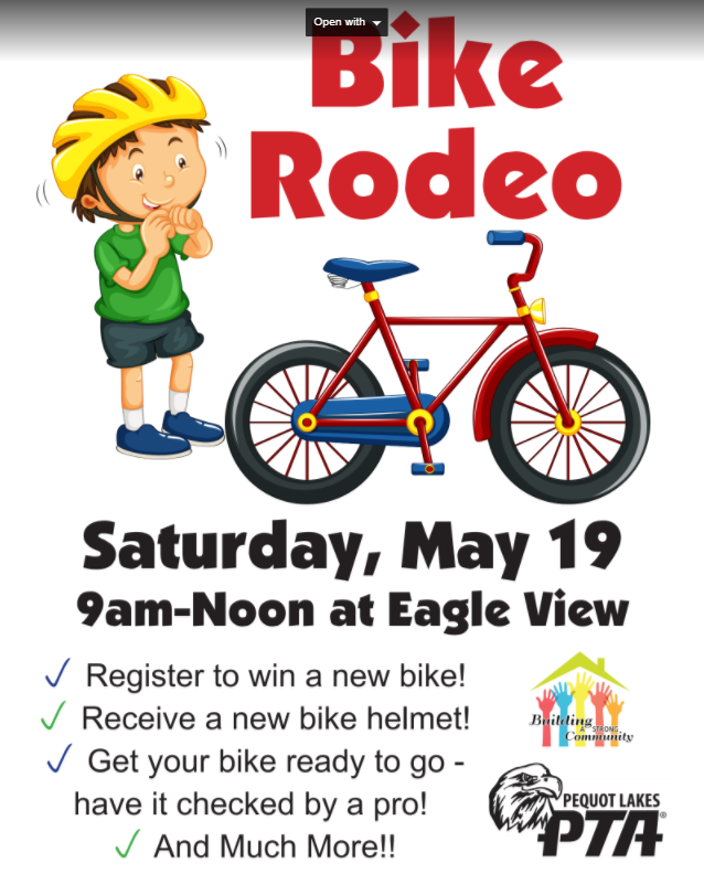 Brainerd Lakes Bicycle Safety Clinic and Pequot Lakes PTA Bike Rodeo May 19